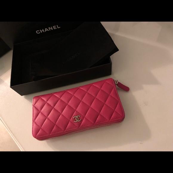 56d55e04df76 CHANEL Bags | Sold Hot Pink Caviar Zip Around Wallet | Poshmark